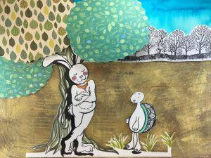 el cuento de La liebre y la tortuga con ilustraciones bonitas y originales