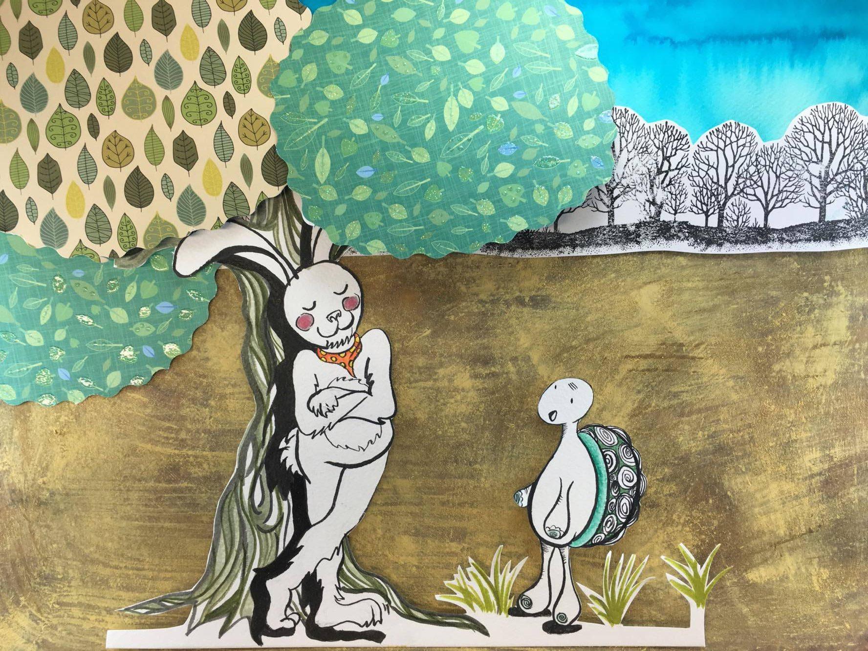 La liebre y la tortuga cuento infantil ilustrado ~ Objetivo Tutti Frutti