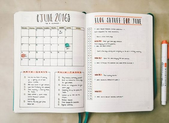 registro mensual Bullet Journal