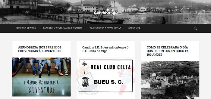 Tercer premio a la juventud de la provincia de pontevedra Pantalla principal del Blog Aernobriga