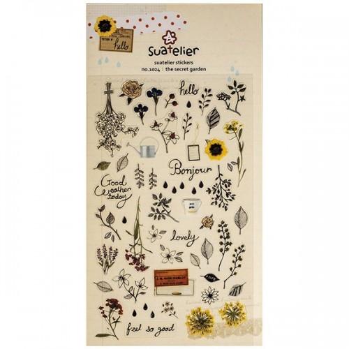 pegatinas transparentes romanticas de flores