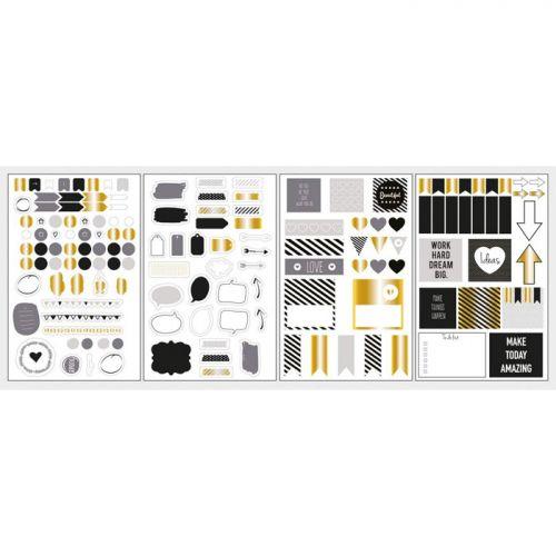 pegatinas con formas elegantes para agendas dorado y negro metalizada